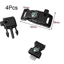 Haobase 4pcs Pack 5/8'' Compass Fire Starter Whistle Buckle Emergency Survival for Paracord Bracelet Outdoor Activity
