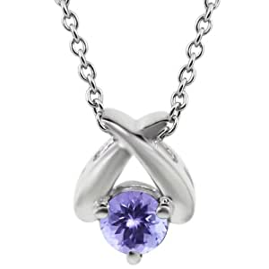 """0.46 Ct Round Natural Blue AAA Tanzanite 925 Sterling Silver Pendant 18"""" Chain"""