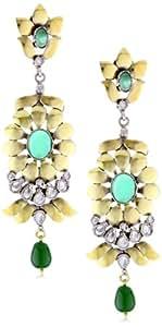 """Taara """"Mughal Collection"""" Gold Flower Jade Earrings"""