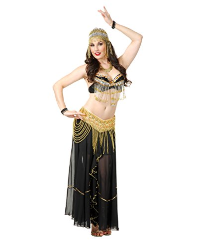 Womens Sexy Black And Gold Arabian Jeweled Beaded Belle Dancer Bra Costume