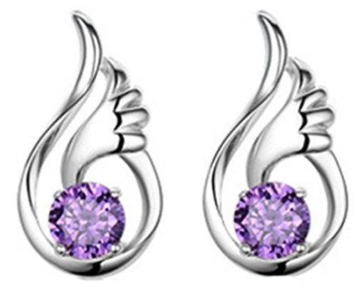 Sterling Silver Angel Wing Drop Earrings Swarovski Elements Crystal Earrings (Purple)