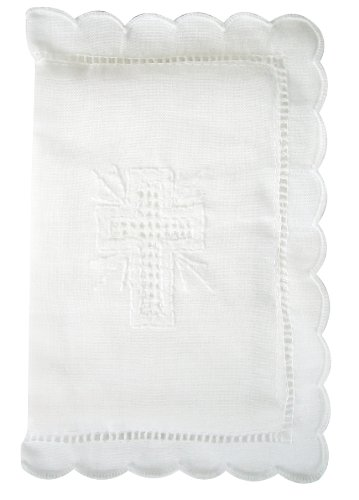 Stephan Baby Keepsake Bible with Embroidered Cover and Scalloped Edge, White