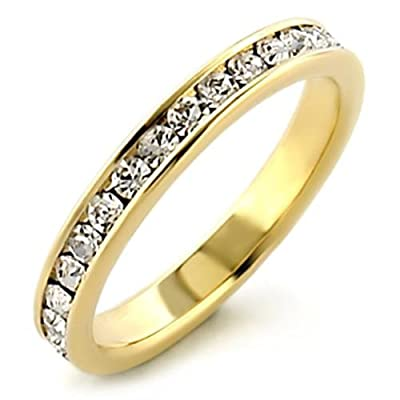 Women's Channel Set World's Most Sparkly Lab Diamonds Ring. 24k Gold Electroplated. Outstanding Quality Eternity Band.