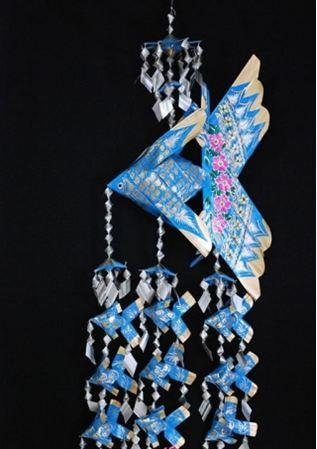 Handmade Extra Large Fish Festoon Mobile With 9 Babies (Blue), Product Of Thailand + Free Shipping Worldwid front-510958