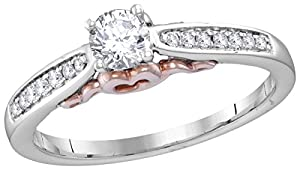 Diamond Engagement Ring 14k White Gold with Rose Gold Heart 1/4 Carat, EGL Certified, 7