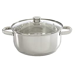 Ecolution Pure Intentions Dutch Oven - Features Tempered Glass Lid, Stay-Cool Handles, and Encapsulated Bottom - Oven Safe - Curbside Recyclable Stainless Steel - 5 Quarts