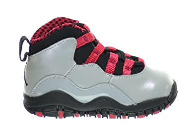 Buy Jordan 10 Retro (TD) Baby Toddlers Basketball Shoes Wolf Grey Black-Legion Red 310808-009 by Jordan