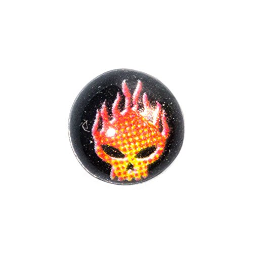 Piercing Dermal Top Logo Flame Skull 4mm Blue Banana Body Piercing (Nero)