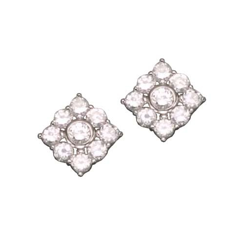C.Z. 3MM FLOWER RHODIUM PLATED (.925) STERLING SILVER EARRINGS (Nice Holiday Gift, Special Black Firday Sale)