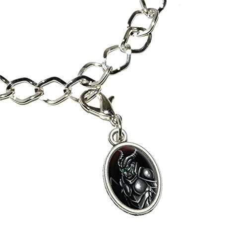 Knight Armor - Medieval Warrior Dragon Slayer Fantasy Silver Plated Bracelet with Antiqued Oval Charm
