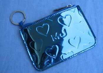 Marc By Marc Jacobs Limited Edition Heart Skinny Case Wallet Bag with Key Ring Blue