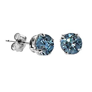 1 CT Blue Diamond Stud Earrings 14k White Gold