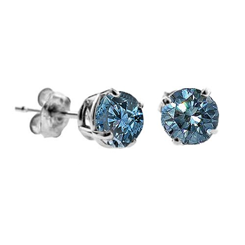1 CT Blue Diamond Stud Earrings 14k Gold