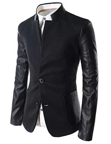 TheLees-Mens-Slim-Leather-Patched-2-Button-Blazer