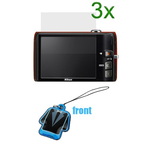 GTMax 3pc Premium Clear LCD Screen Protector Exactly Fit + Cleaner Strap for Nikon COOLPIX S4100, COOLPIX S6100 Digital Cameras