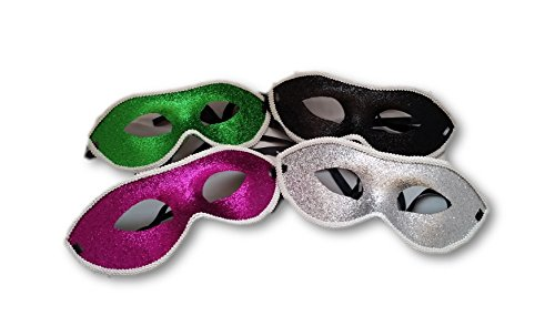 Mardi Gras Masks and Party Masquerade ideas 4 Piece Set purple, green, silver, black