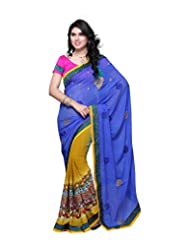 Aaliyah Women's Georgette Saree With Blouse Piece(Blue)