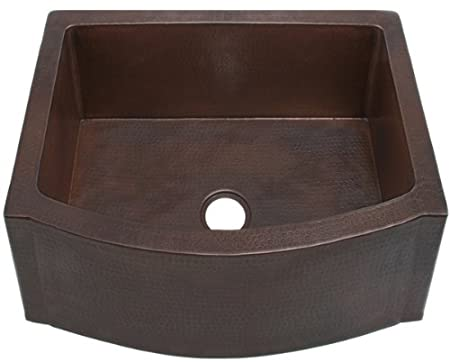 FHA25 inch Hammermarc Copper Kitchen Sink Rounded Front Apron Front w/Flat Ends