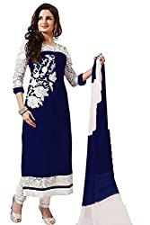 Labhde Synthetic Georgette Embroidered Salwar Suit (labhde599blue_Blue_Free Size)