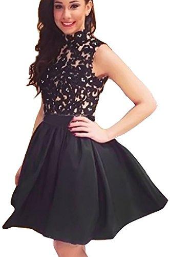 Fancyinn-Women-Turtleneck-Sleeveless-Lace-Floral-Mini-Skater-Cocktail-Dress-Black