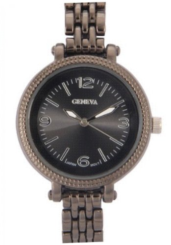 Geneva Ladies Classic Narrow Band Style Black Dial Lite Handles 33Mm Watch Japan Pc21S Movt