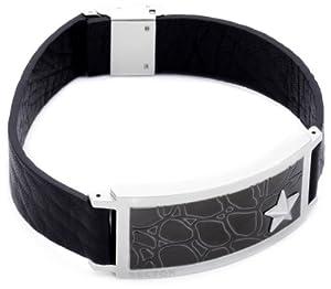 Bracelet Homme Sector - S03R704B - Aviator - Cuir Noir - Plaque Acier et PVD Marron - 22,5 cm