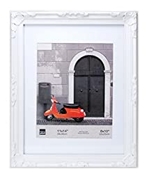 Kiera Grace Georgia Picture Frame, 11 by 14-Inch Matted For 8 by 10-Inch Photo, White