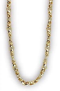 Mens twisted bullet link chain in 14K, smallest links