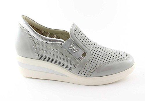 MELLUSO WALK R2180 acciaio scarpe donna sportive zeppa elastico slip-on