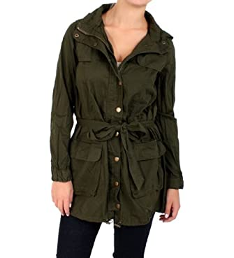 Nikki D Hooded Waist Tie Jacket in Forest Green