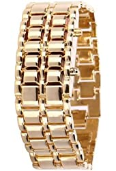 Soleasy Gold Metal Strip Digital Stainless Steel Lava Style Iron Red 8-led Faceless Wrist Watch Wth0416