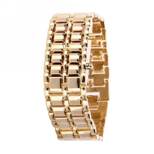 Soleasy Gold Metal Strip Digital Stainless Steel Lava Style Iron Sport Red 8-Led Faceless Wrist Watch Wth0416