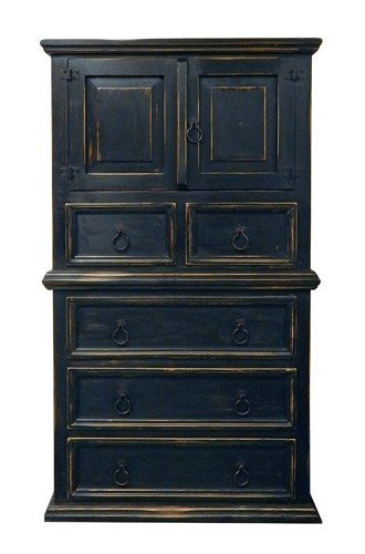 Rustic Stone Brown Mansion Chest of Drawers Solid Wood
