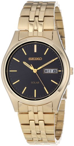 Seiko Men's SNE044 Gold Tone Solar Black Dial Watch