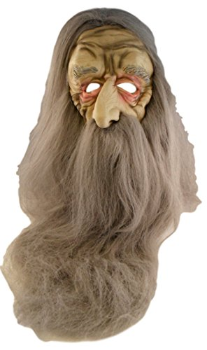 [Adult Halloween Old Man Mask - Very Long Grey Hair and Beard] (Old Man Halloween Mask)