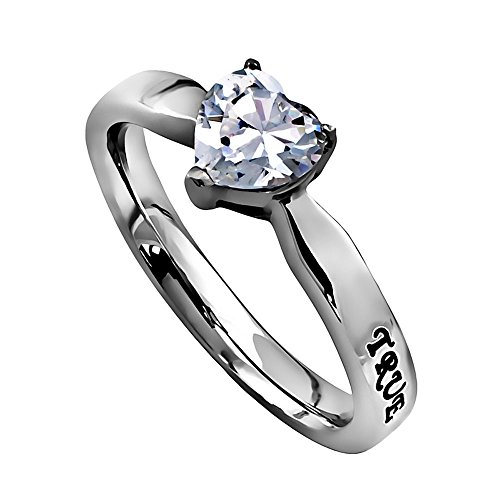 Unbranded-Womens-True-Love-Waits-Cubic-Zirconium-Heart-Ring-Stainless-Steel