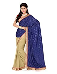 Beige Faux Georgette And Navy Blue Jacquard Saree With Blouse