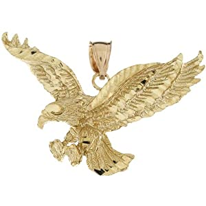 10k Real Yellow Gold 2.7cm Large American Eagle Pride Charm Pendant