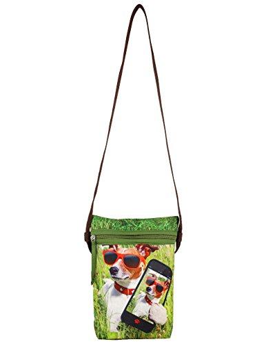Indiano Digital Graphic Dog Face Croce Corpo Satchel Handbag - Poliestere Dupion Faux Seta - Adorabile stampa all-over - 8 x 10 x 2,5 pollici