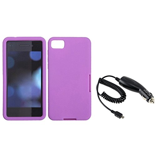 Eforcity® Purple Silicone Solid Rubber Skin Cover Case + Dc Car Charger Compatible With Blackberry Z10