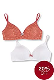 2 Pack Angel Non-Wired Spotted Bras