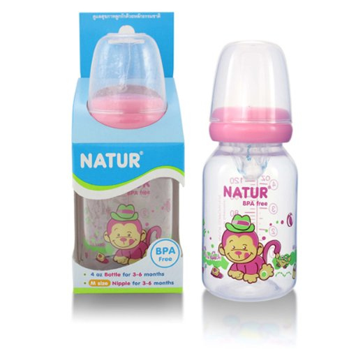NATUR Pink Baby Feeding Bottle with size M nipple BPA Free 4 oz / 120 ml