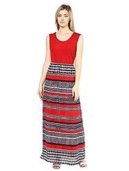 Red Printed Back Cut Out Maxi Dress-Medium