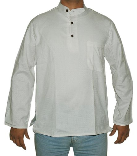 Indian Casual Wear Short Mens Kurta White Cotton with Standing Collar Neckline Size 3XL