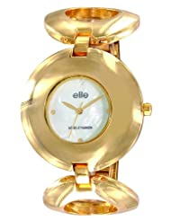 Elite Analog Ladies Dress White Mother Of Pearl Dial Women's Watch - E52854/101