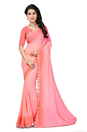 Oomph! Chiffon Sarees for women Party Wear - Salmon Ombre