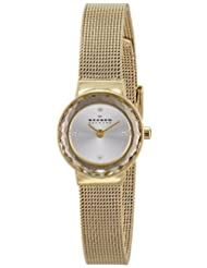 Skagen Leonora Silver Dial Analogue Quartz Gold Color Stainless Steel Women's Watch SKW2186