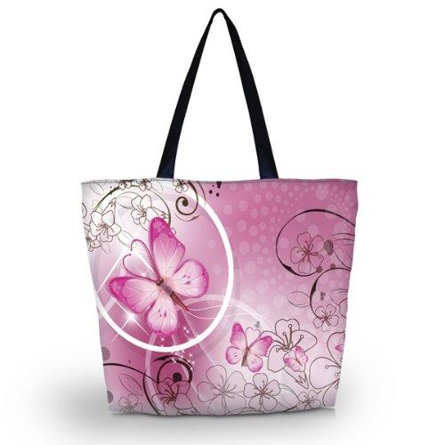 rosa Schmetterling Wiederverwendbare Einkaufs-Einkaufstüte Eco Tote Umhängetasche Schule Sport Strand
