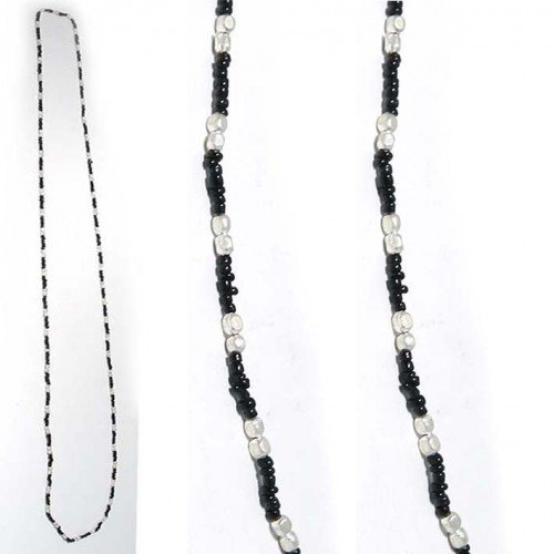 SG Paris Necklace 60cm Black+Silver Noir/Jet Necklace Necklace Glass Winter Women Hippy Chic Fashion Jewelry / Hair Accessories Z Others