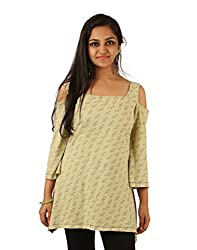 INDRICKA Green colour 100% Organic Cotton Top for womens.
